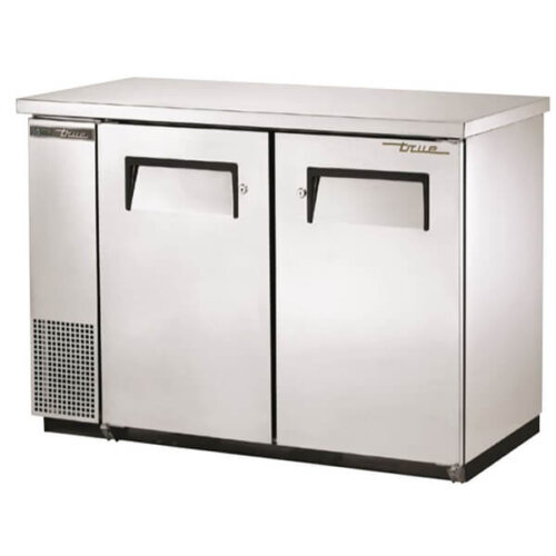 True TBB-24-48-S-HC Back Bar Refrigerator 2 Solid Doors 24 inch Silver
