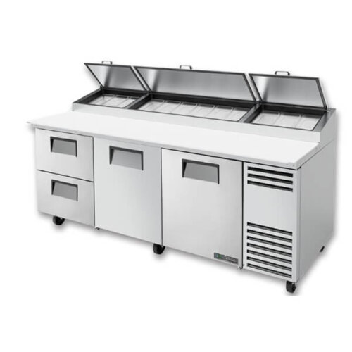 True TPP-AT-93D-2-HC Pizza Prep Table 12 Pans 93 inch