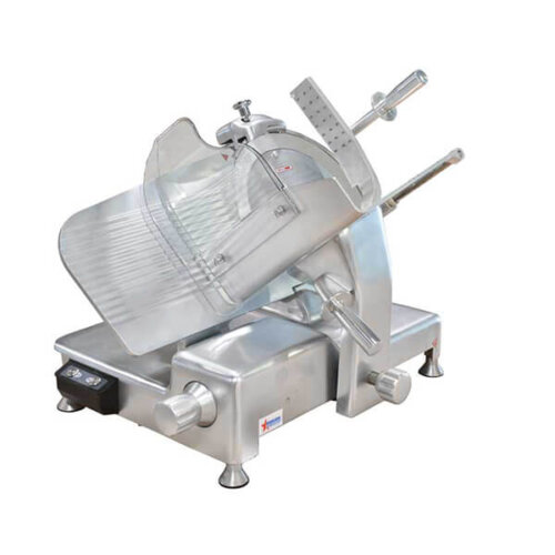 "Omcan 23544 14"" Manual Gravity Feed Meat Slicer - 0.5 hp, 110V"