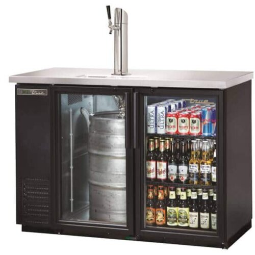 True TDB-24-48G-HC-LD Direct Draw Beer Dispenser Glass Door Single Tower Black