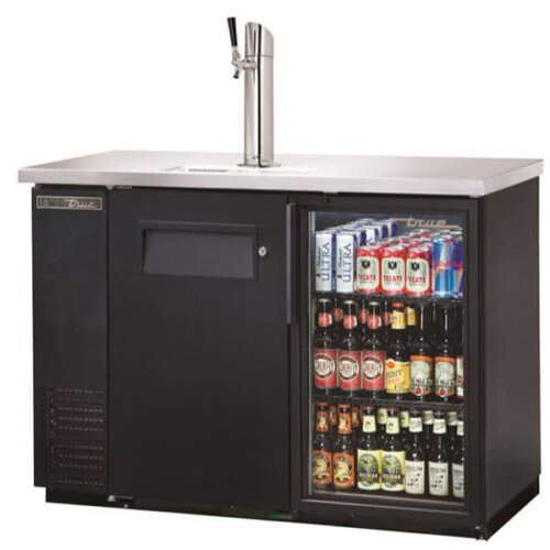 True TDB-24-48-1-G-1-HC-LD Direct Draw / Back Bar Beer Dispenser Glass Door Single Tower Black