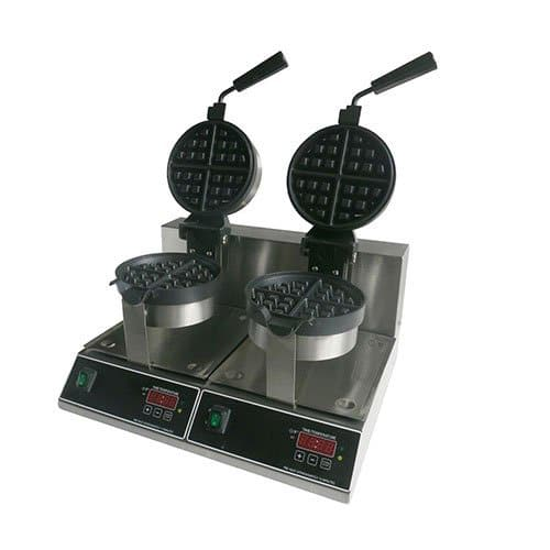 "Kitchen Monkey KMBWM-7/R-2 7"" Double Belgian Waffle Maker 120V, 2000W"