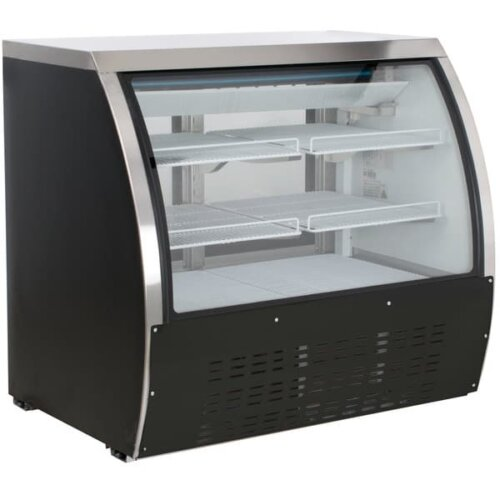 Kitchen Monkey KMDC-48 48 Curved Glass Refrigerated Deli Case 15.5 Cu Ft