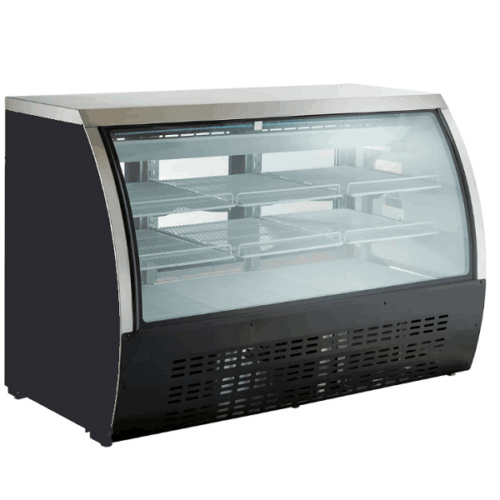 Kitchen Monkey KMDC-64 64 Curved Glass Refrigerated Deli Case 21.9 Cu Ft