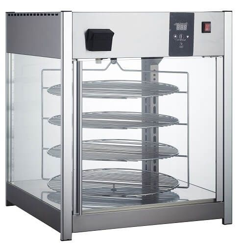 Kitchen Monkey KMHDRP-158 Single Door Rotating 4-Tier Pizza Merchandiser with 18 Racks - 115V