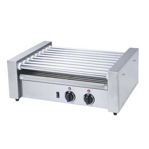 Kitchen Monkey KMRG-09 Commercial Countertop Hot Dog Roller Grill with 9 Rollers - 120V, 720W