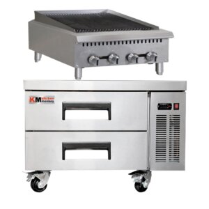 Kitchen Monkey 24″ Heavy Duty Gas Countertop Radiant Charbroiler 80,000 BTU with 36 Inch 2 Drawer Refrigerated Chef Base