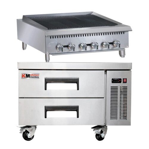 Kitchen Monkey 36″ Heavy Duty Gas Countertop Radiant Charbroiler 120,000 BTU with 36 Inch 2 Drawer Refrigerated Chef Base