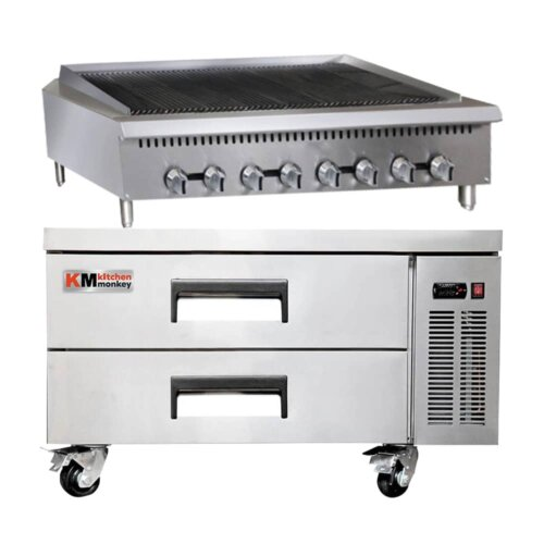 Kitchen Monkey 48″ Heavy Duty Gas Countertop Radiant Charbroiler 160,000 BTU with 52 Inch 2 Drawer Refrigerated Chef Base