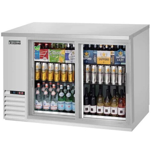 Everest EBB48G-SD-SS Back Bar Refrigerator 2 Glass Slide Doors 13 cuft