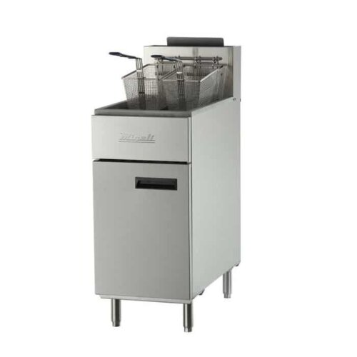 Migali C-F40-NG Natural Gas 40 lb. Floor Fryer – 102,000 BTU